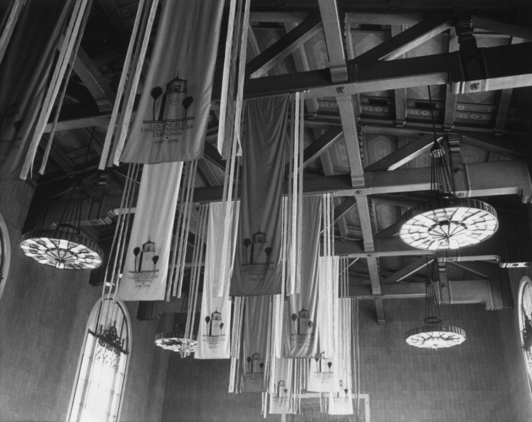 . Interior view of Los Angeles\' Union Station, showing banners hanging from the ceiling, celebrating its 50th anniversary, from 1939 to 1989.   (Los Angeles Public Library)