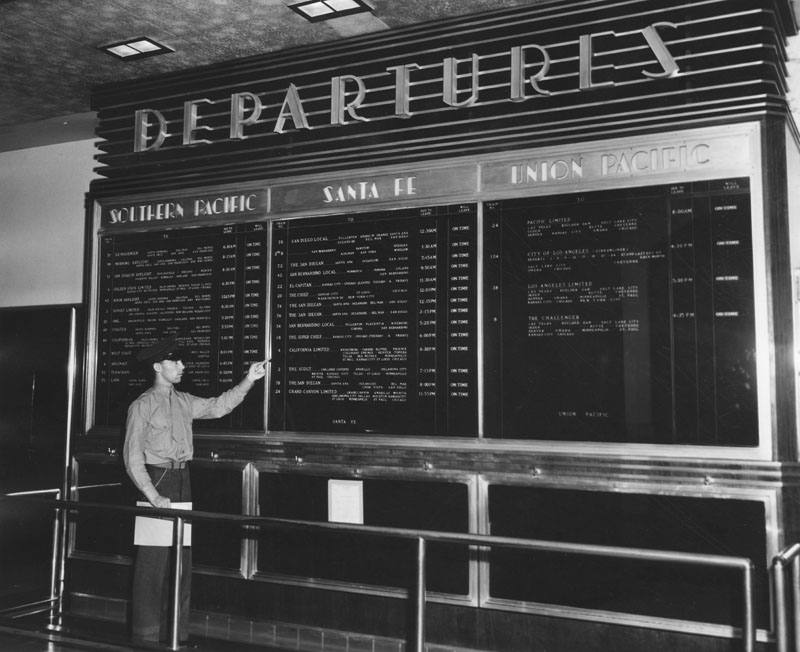 . Los Angeles Union Station\'s departure board on Friday, May 24, 1946, at the outset of a rail labor strike.   (Los Angeles Public Library)