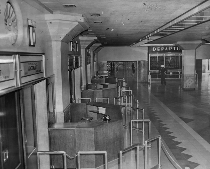 . U. S. Navy MP\'s patrol a vacant Los Angeles Union Station on Friday, May 24, 1946, at the outset of a rail labor strike.  (Los Angeles Public Library)