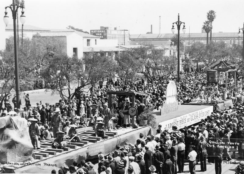 . Chinese floats in the Union Station opening day parade on May 3, 1939. One says it carries the largest piece of glass ever cast. The float has a display of Chinese railroad workers laying track.   (Los Angeles Public Library)