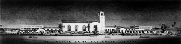 . An artist\'s sketch of Union Station located at 800 North Alameda Street, in Los Angeles. Architects: John and Donald B. Parkinson.  (1937)  (Los Angeles Public Library)