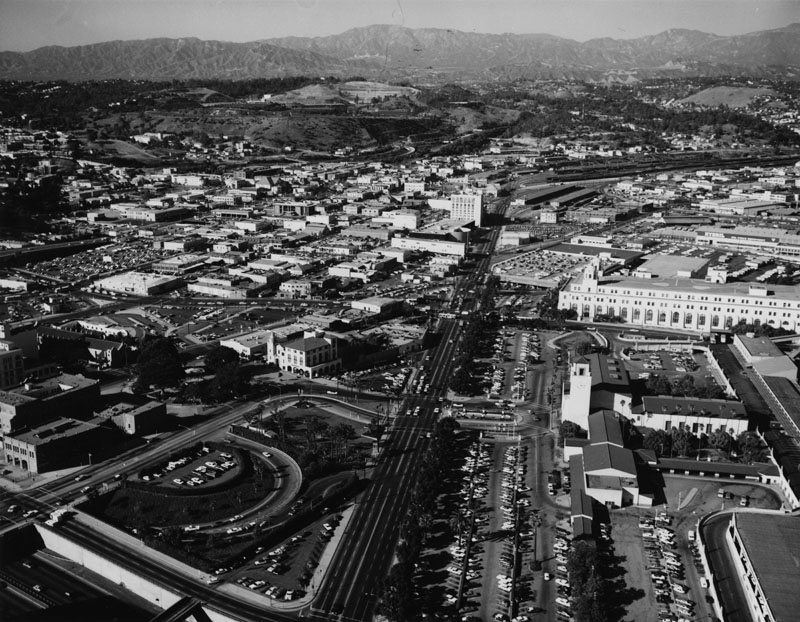 . Aerial view of Union Station, Olvera Street, La Plaza, and its surrounding areas.   (Los Angeles Public Library)