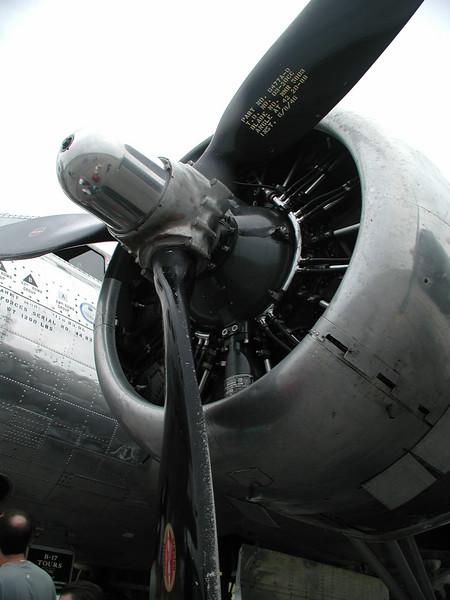 ENGINE DETAIL<br /> The B-17 took to the air under the power of four Wright R-1820-97 Cyclone turbosupercharged engines, each putting out 1200 horsepower.
