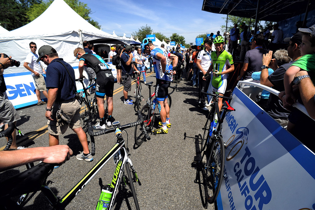 . Competitors  get ready in Newhall before the start of stage 6 of the Amgen Tour of California bicycle race. (Photo by Hans Gutknecht/Los Angeles Daily News)