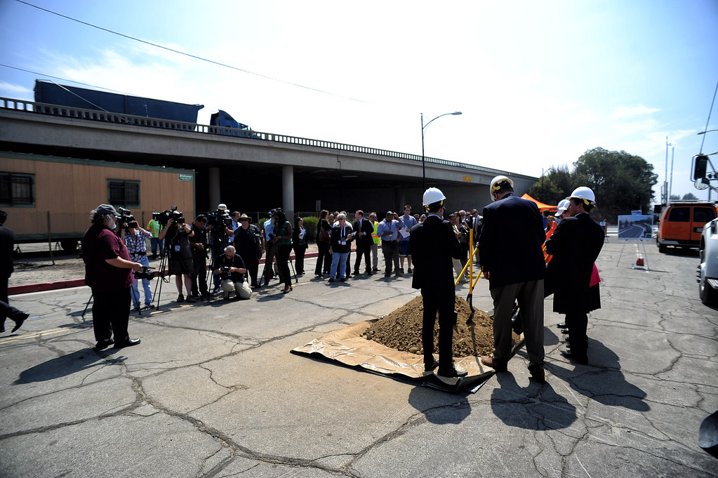 . Groundbreaking press conference for a project that will add carpool lanes in each direction on the I-5 between Magnolia Boulevard and Buena Vista Street, construct a new interchange at I-5 and Empire Avenue, reconstruct the Burbank Boulevard over crossing, elevate the railroad tracks at Buena Vista Street and San Fernando Boulevard adjacent to Empire Avenue  and provide a new connection to Empire Avenue. (Photo by Hans Gutknecht/Los Angles Daily News)