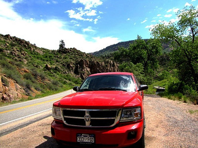 my truck parked by St. Vrain River