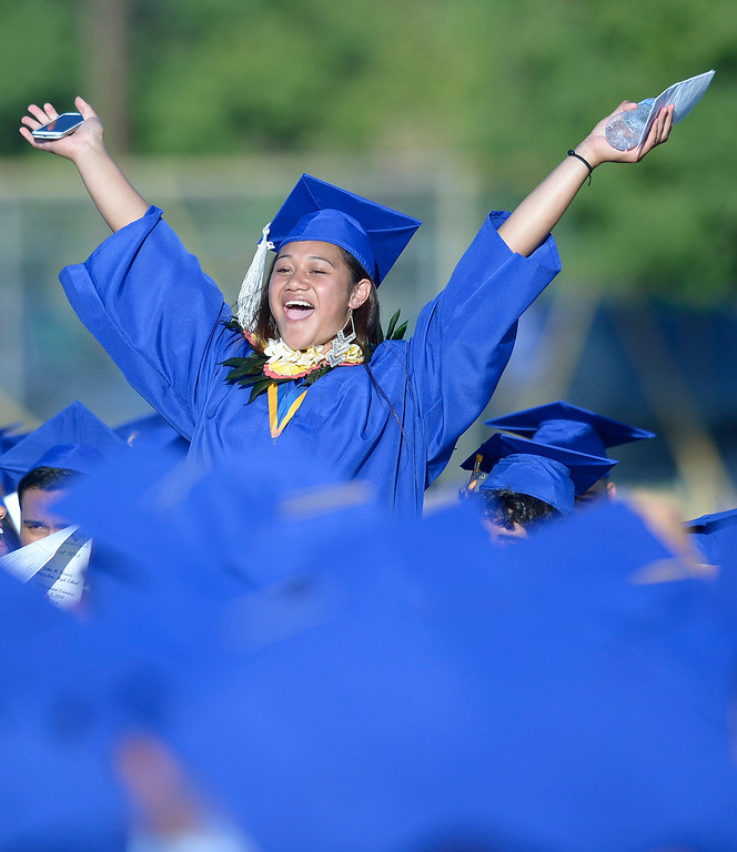 . Elenoa Taulaki celebrates her accomplishments at John H. Francis Polytechnic High School graduation for the class of 2014. Los Angeles, CA. 6/5/2014(Photo by John McCoy Daily News)