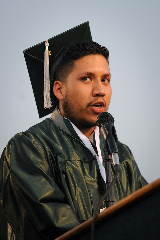 . Senior class president Santiago Larios speaks at the Canoga Park graduation, Friday, June 6, 2014. (Photo by Michael Owen Baker/Los Angeles Daily News)