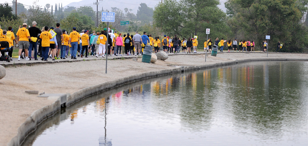 . Runners start the New Horizons 5k.  New Horizons, the North Hills nonprofit celebrated its 60 years of serving special needs adults Saturday, June 7, 2014, during a 5K walk/run at Hansen Dam with a fitness, health and business expo.  (Photo by Dean Musgrove/Los Angeles Daily News)