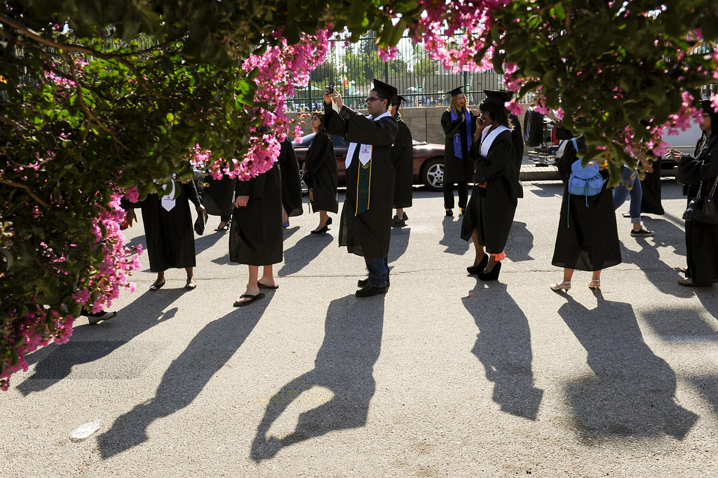 . Grads get in line for the Los Angeles Valley College graduation, Tuesday, June 10, 2014. (Photo by Michael Owen Baker/Los Angeles Daily News)
