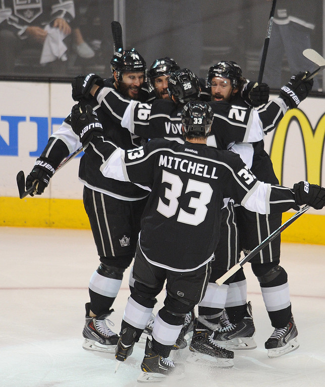 . Kings celebrate a goal by Kings#14 Justin Williams in the first period. The Kings played the New York Rangers game 5 of the Stanley Cup Final at Staples Center in Los Angeles, CA. 6/13/2014(Photo by John McCoy Daily News)