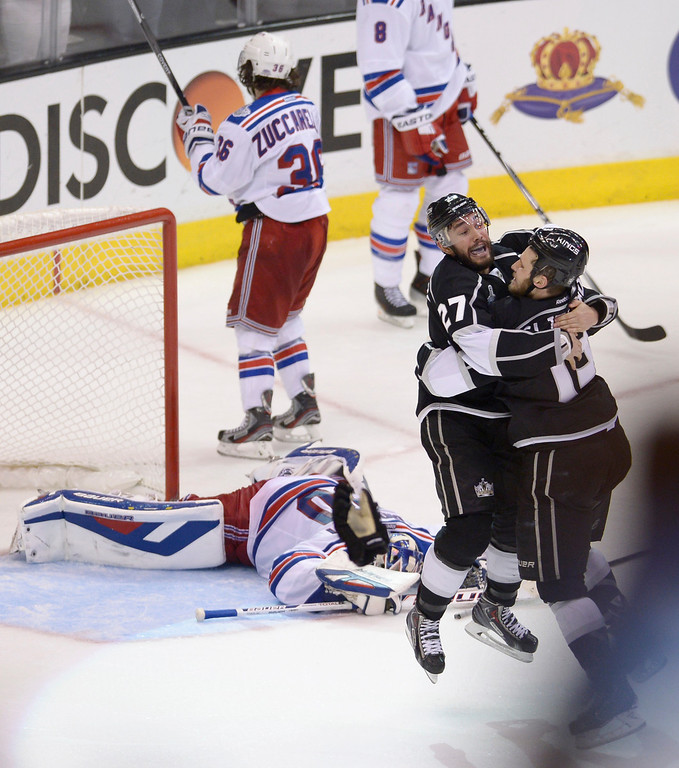 . Kings celebrate the winning goal. The Kings defeated the New York Rangers in the second overtime period to win the Stanley Cup at Staples Center in Los Angeles, CA. 6/13/2014(Photo by John McCoy Daily News)