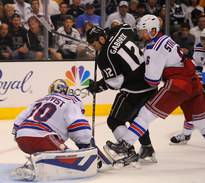 . The Kings\' Marian Gaborik send the game into overtime with his the third period goal against the Rangers in game five of the Stanley Cup Final, Friday, June 13, 2014, at Staples Center. (Photo by Michael Owen Baker/Los Angeles Daily News)