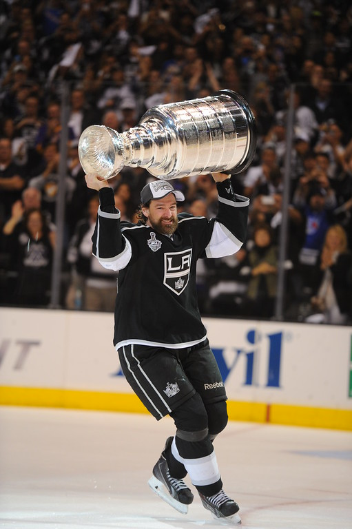 . Cup MVP Justin Williams skates with the Stanley Cup after beating the Rangers in double-overtime, Friday, June 13, 2014, at Staples Center. (Photo by Michael Owen Baker/Los Angeles Daily News)