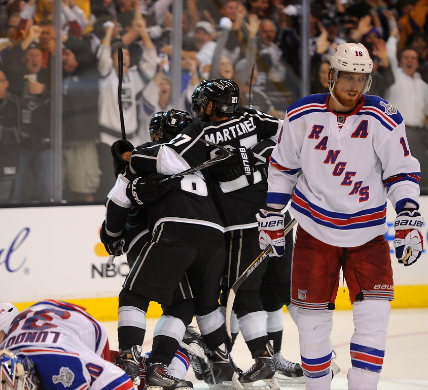 . The Kings\' celebrate Marian Gaborik\'s third period goal against the Rangers in game five of the Stanley Cup Final, Friday, June 13, 2014, at Staples Center. (Photo by Michael Owen Baker/Los Angeles Daily News)