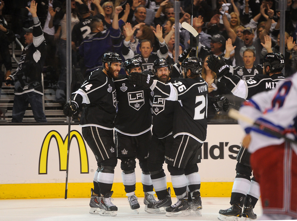 . The Kings celebrate a first period goal by Justin Williams, second from right, against the Rangers in game five of the Stanley Cup Final, Friday, June 13, 2014, at Staples Center. (Photo by Michael Owen Baker/Los Angeles Daily News)