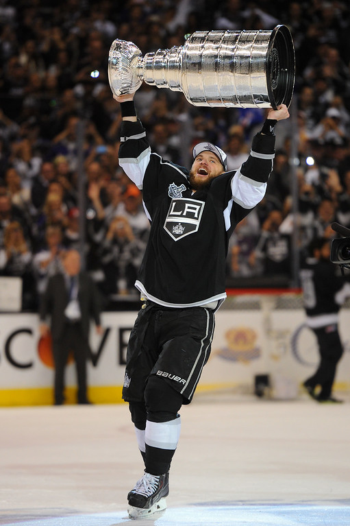 . The Kings\' Marian Gaborik skates with the Stanley Cup after beating the Rangers in double-overtime, Friday, June 13, 2014, at Staples Center. (Photo by Michael Owen Baker/Los Angeles Daily News)