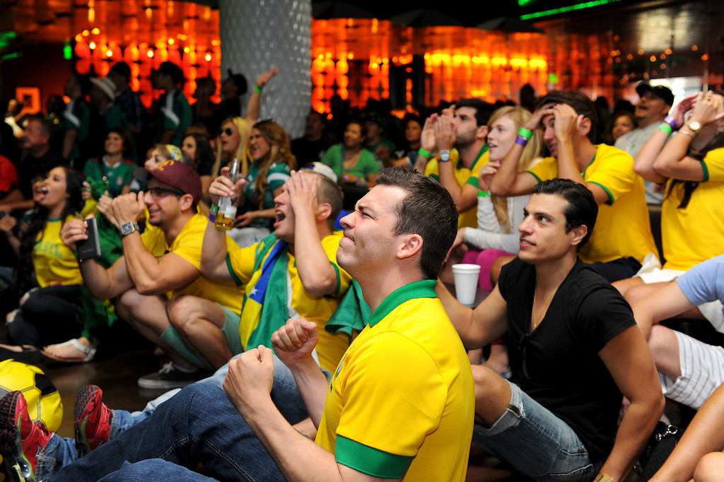 . Brazil soccer fans watch the Mexico vs Brazil World Cup game at a viewing party at the Conga Room at L.A. Live, Tuesday, June 17, 2014. (Photo by Michael Owen Baker/Los Angeles Daily News)