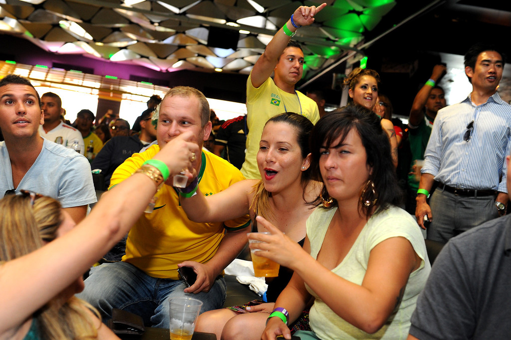 . Brazil soccer fans have fun at the Mexico vs Brazil World Cup game at viewing party at the Conga Room at L.A. Live, Tuesday, June 17, 2014. (Photo by Michael Owen Baker/Los Angeles Daily News)