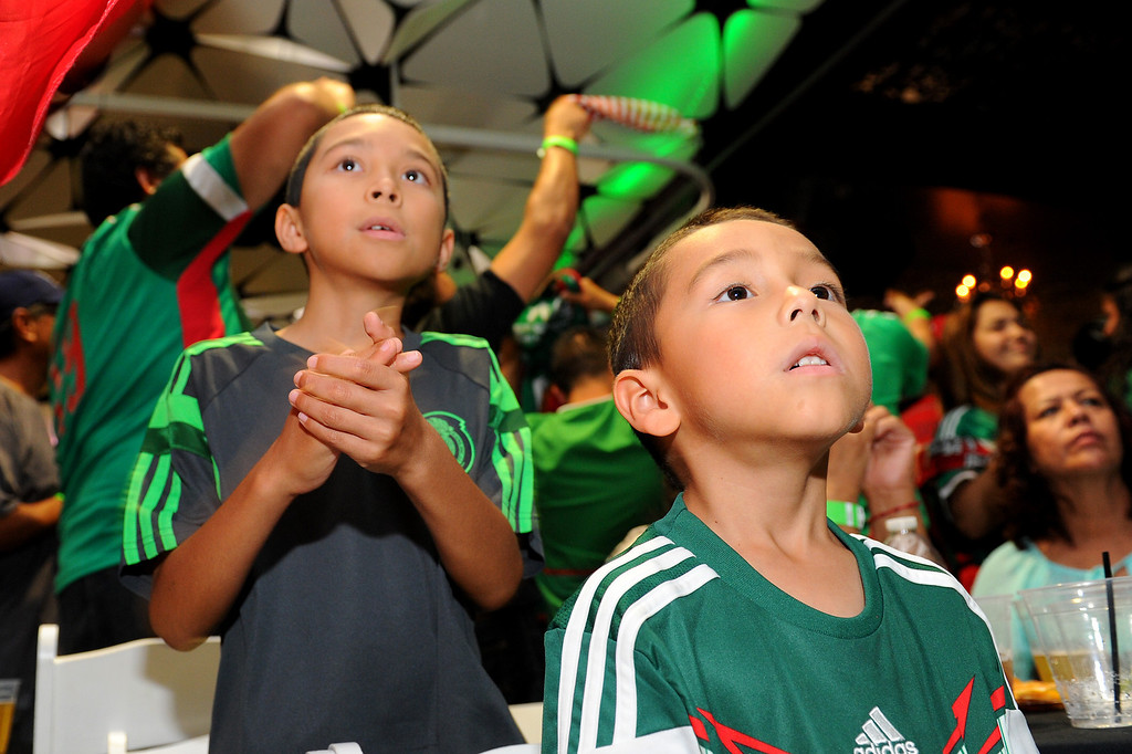 . Soccer fans Diego Gutierrez, 5, front, and his brother Angel Gutierrez, 11, watch the Mexico vs Brazil World Cup game at viewing party at the Conga Room at L.A. Live, Tuesday, June 17, 2014. (Photo by Michael Owen Baker/Los Angeles Daily News)