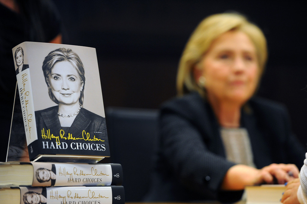""". Hillary Rodham Clinton signs her book \""""Hard Choices\"""" at Barnes & Noble at The Grove, Thursday, June 19, 2014. (Photo by Michael Owen Baker/Los Angeles Daily News)"""