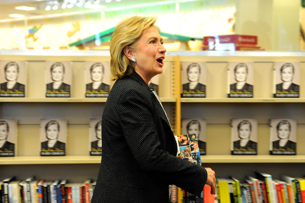 """. Hillary Rodham Clinton enters the Barnes & Noble to sign her book \""""Hard Choices\"""" at The Grove, Thursday, June 19, 2014. (Photo by Michael Owen Baker/Los Angeles Daily News)"""