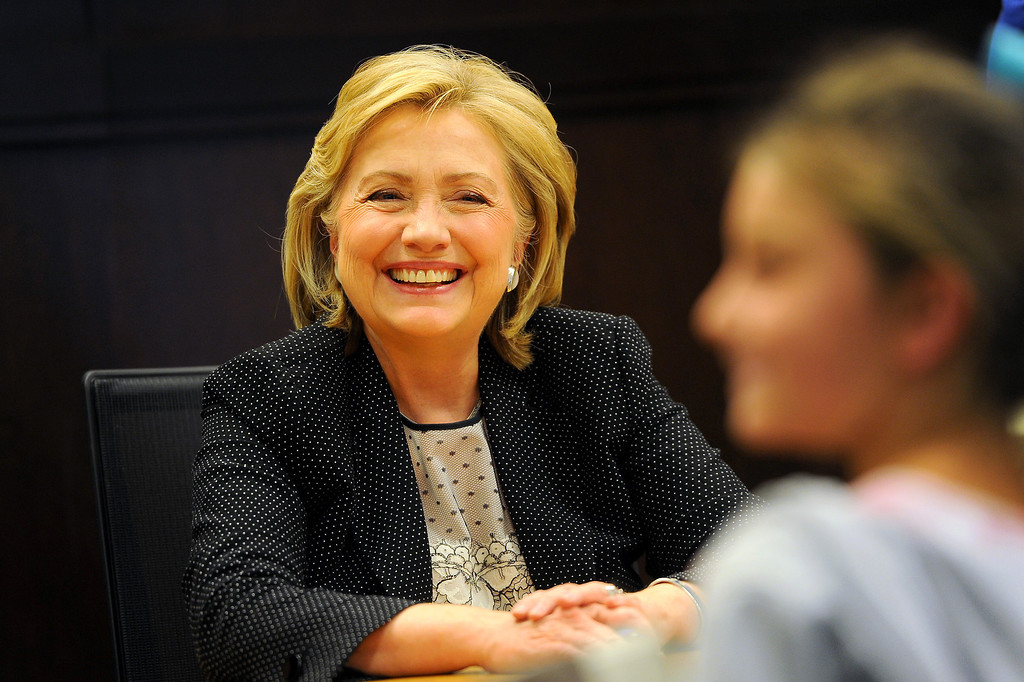 . Hillary Rodham Clinton greets people at her book signing at Barnes & Noble at The Grove, Thursday, June 19, 2014. (Photo by Michael Owen Baker/Los Angeles Daily News)