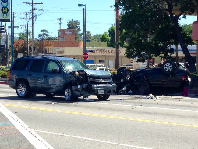 . The wreckage of two SUVs is seen on Wednesday, June 19, 2013, near the corner of Lankershim Boulevard and Vineland Avenue in North Hollywood. At least one person was dead, according to preliminary reports. (Hans Gutknecht/Los Angeles Daily News)