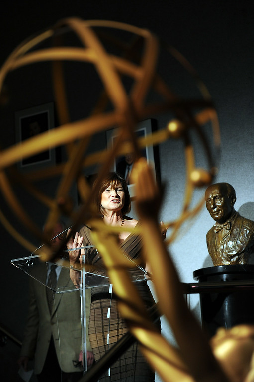 . Governors Ball Event Producer  Cheryl Cecchetto speaks during the 66th Emmy Awards Governors Ball sneak peek press preview at Television Academy, Leonard H. Goldenson Theatre in North Hollywood Wednesday, July 23, 2014. (Hans Gutknecht/Los Angeles Daily News)