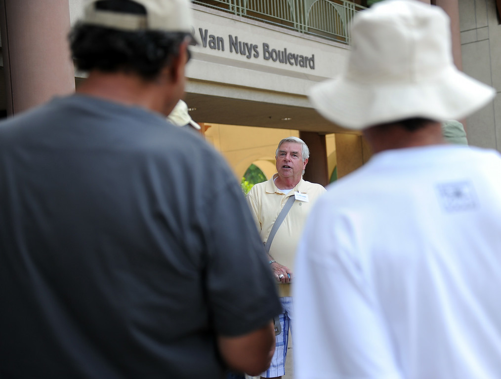 . Richard Hilton at the Van Nuys Civic Center before leading his last historic walking tour of Van Nuys Saturday, July 26.2014. (Photo by Hans Gutknecht/Staff Photographer)