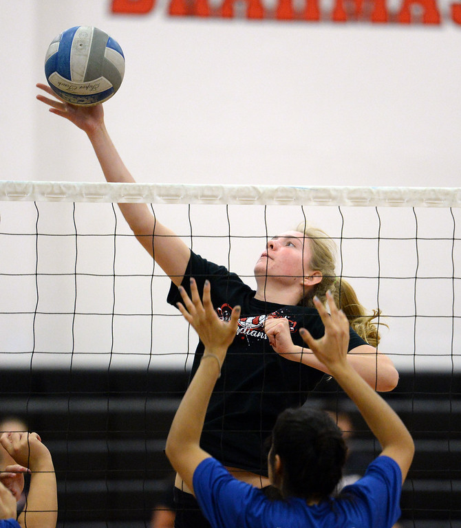 . Hart High School takes on Burbank High School during a girls volleyball tournament at  Pierce College Saturday, July 26, 2014. (Photo by Hans Gutknecht/Staff Photographer)