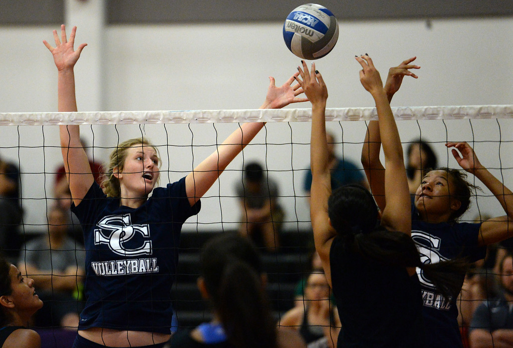 . Sierra Canyon High School takes on Glendale High School during a girls volleyball tournament at  Pierce College Saturday, July 26, 2014. (Photo by Hans Gutknecht/Staff Photographer)