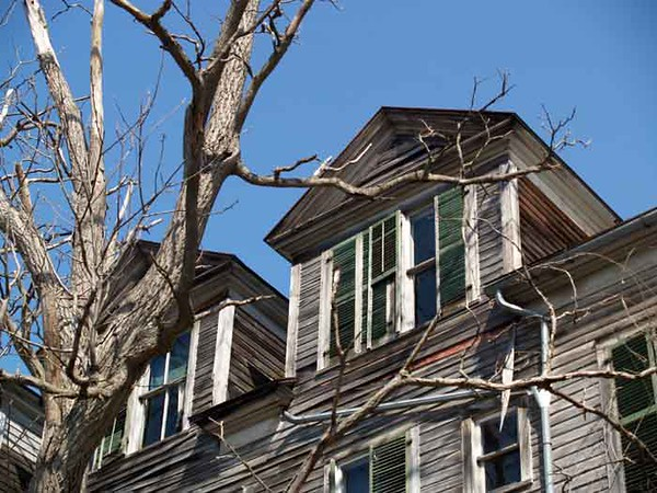 DORMER WINDOWS<br /> <br /> Not possessing the courage to cross the street and poke around in person, I put the telephoto zoom on the camera and prowled around from afar. I'll tell you something, if a face had suddenly appeared in one of those windows, I would've shat myself right on the spot and ran back to Pepe screaming. I can be such a chicken sometimes -- even in broad daylight, apparently.