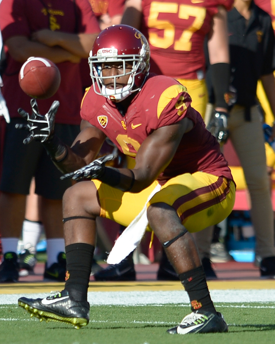 . USC #9 JuJu Smith makes a catch in the 2nd quarter. USC played Fresno State at the Los Angeles Memorial Coliseum for the first game of the year. Los Angeles, CA. 8/30/2014(Photo by John McCoy Daily News