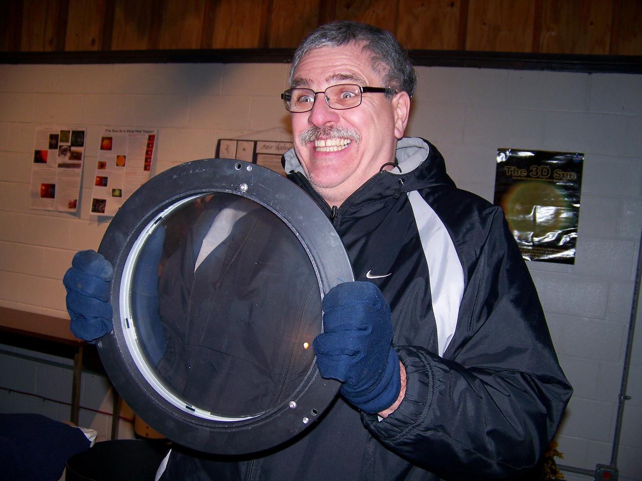 "Dan McKeel being impressed with the ""big"" 10 inch lens!"