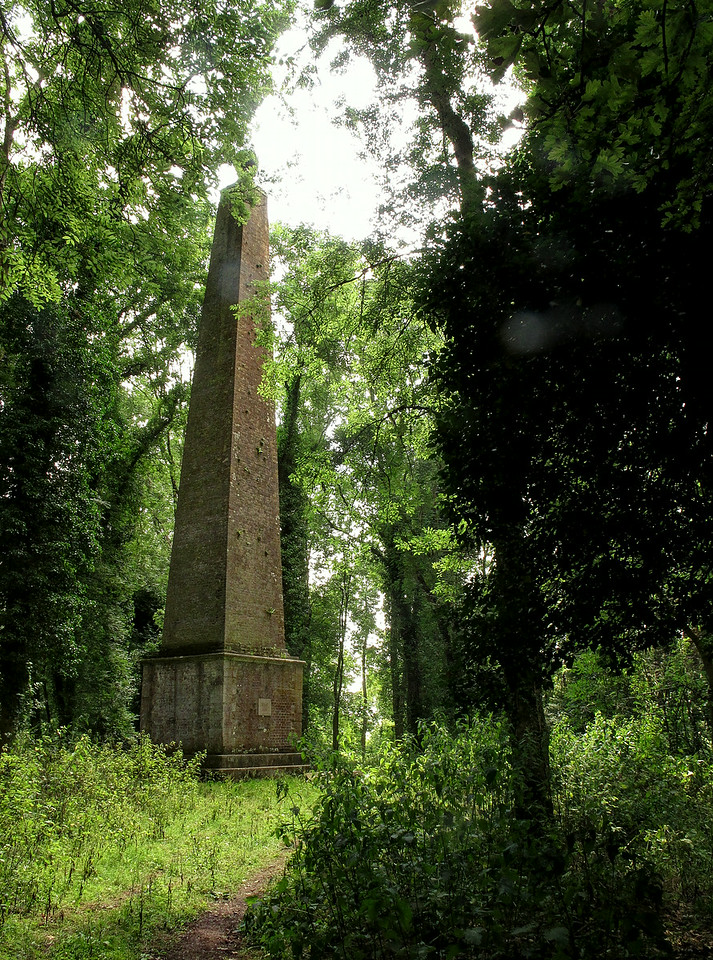 When the obelisk was built the hill must have been clear but nature has all but reclaimed the area, the obelisk only visible now when you get right on top of it.