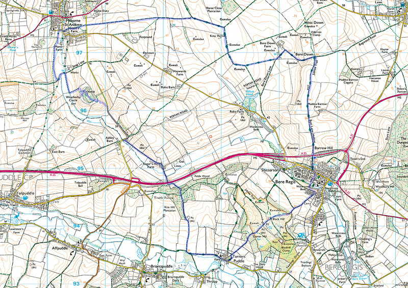Today's route shown in blue, travelled anticlockwise from the blue flag.