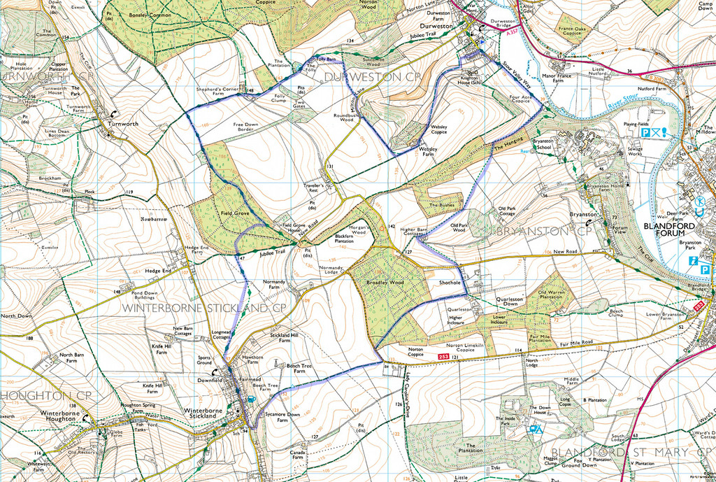 As usual the actual route is shown in blue, the walk was done in a clockwise direction.