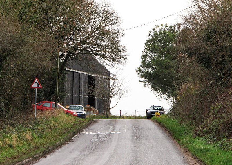The entrance to the abandoned airfield at Tarrant Rushton at Windy Corner.