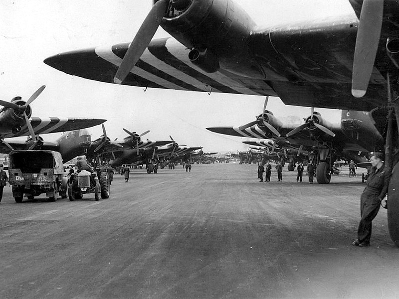 Tarrant Rushton in busier times - June 1944 preparing for D-day and the invasion of France.   An evocative photo of Sterling bombers lined up ready to tow gliders full of troops.