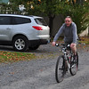 The minister arrives, <br /> flat tire and all. <br /> Never believed in tubeless bike tires.