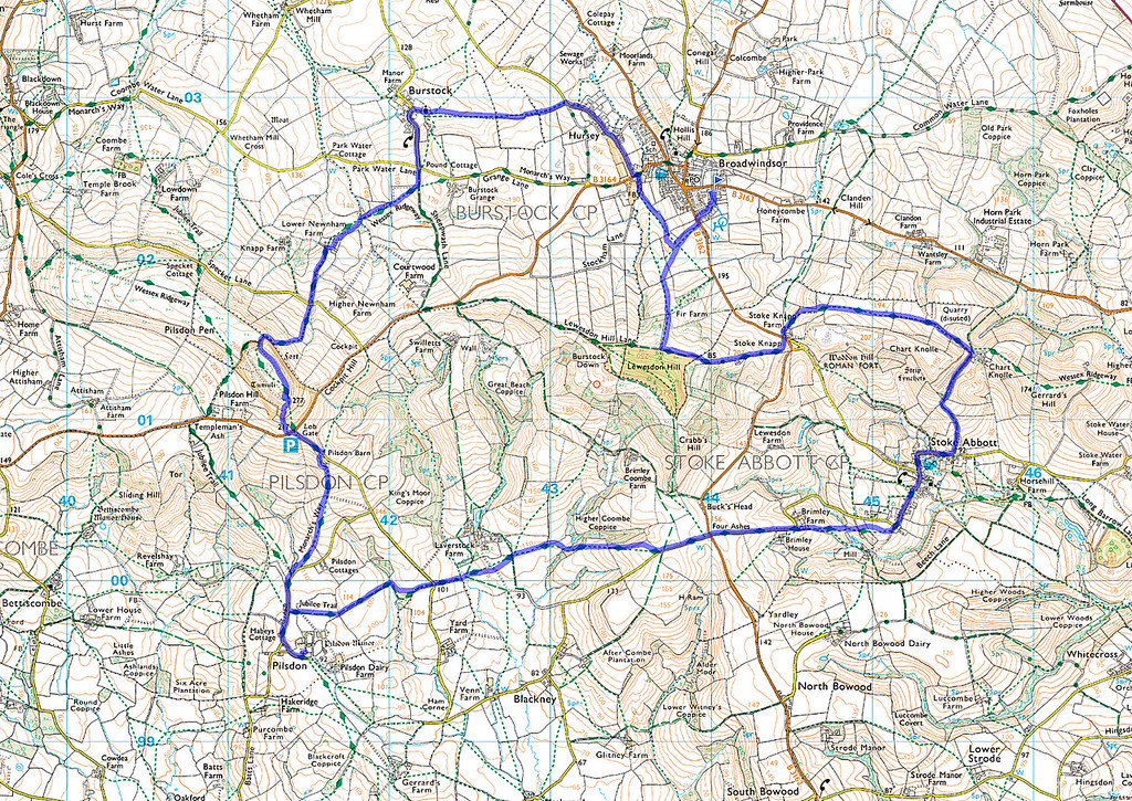 The actual route walked as recorded on my phone, anticlockwise from the marker in Broadwindsor