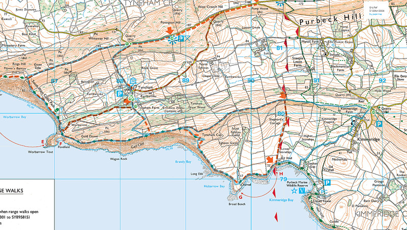 The route actually walked can be seen on the map in blue - the Western circuit was done anticlockwise and the one to the East was walked clockwise.