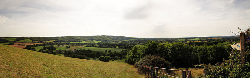 A panorama from the South slope of Hambledon Hill.