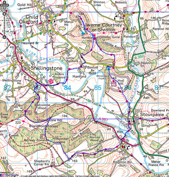 The route taken (clockwise)