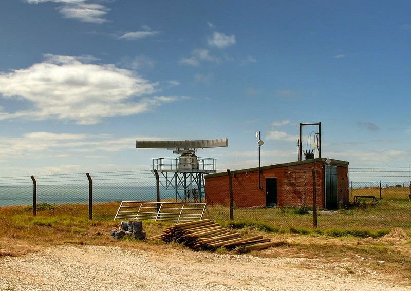 A radar on the entrance to the Western end of the ranges, presumably for spotting encroachment by shipping into the sea danger area, where ships are banned during firing due to the danger from ricochets.