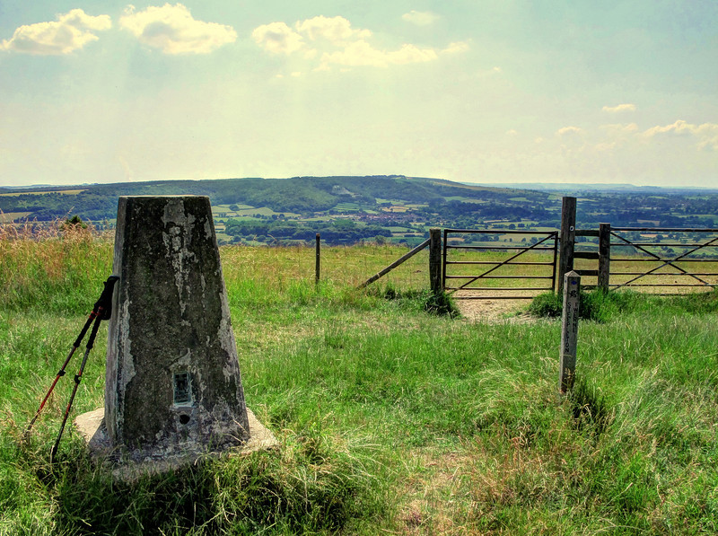 The view from the trig point (223 m) on Hambledon Hill looking West