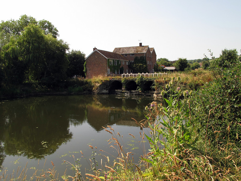 The mill and sluices on the River Stour at Durweston.