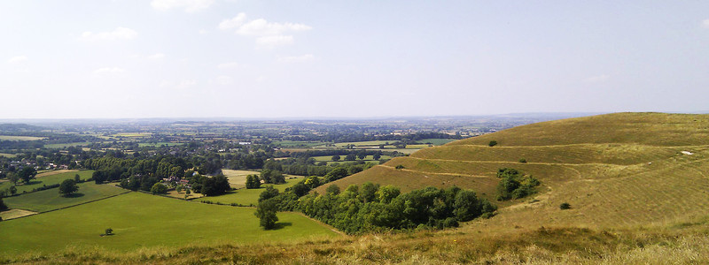 My camera battery had died by this point so this was taken on my phone.   The fort at Hambledon Hill showing the commanding view over surrounding countryside.