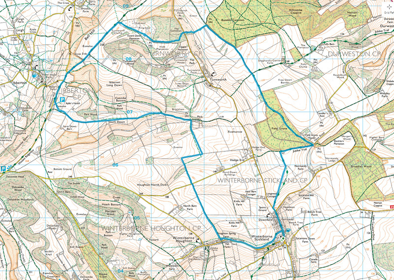 The route we followed is in blue and we did the walk in a clockwise direction.   The trace looks a bit like Africa!